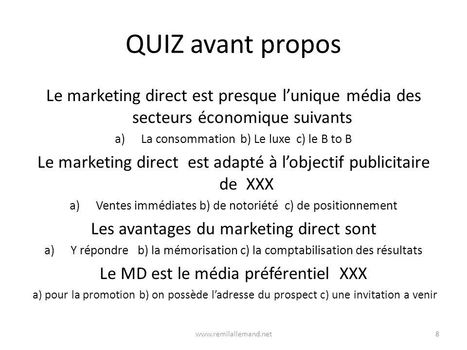 QUIZ avant propos Le marketing direct est presque l'unique média des secteurs économique suivants. La consommation b) Le luxe c) le B to B.