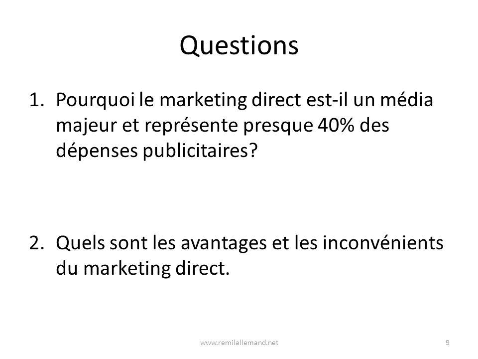 Questions Pourquoi le marketing direct est-il un média majeur et représente presque 40% des dépenses publicitaires