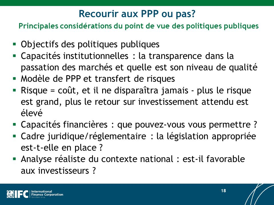 Principales considérations du point de vue des politiques publiques