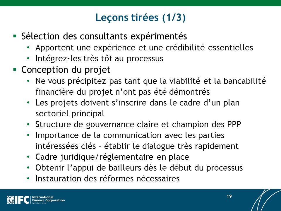 Leçons tirées (1/3) Sélection des consultants expérimentés