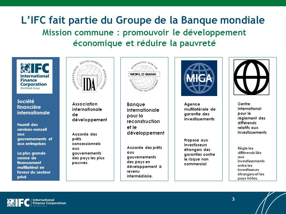 L'IFC fait partie du Groupe de la Banque mondiale