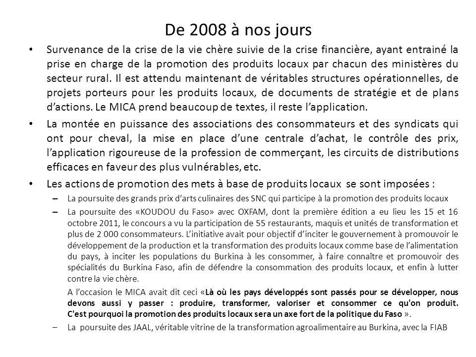 De 2008 à nos jours