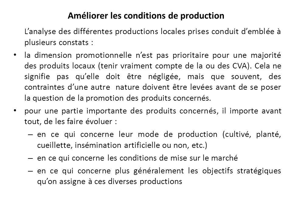 Améliorer les conditions de production