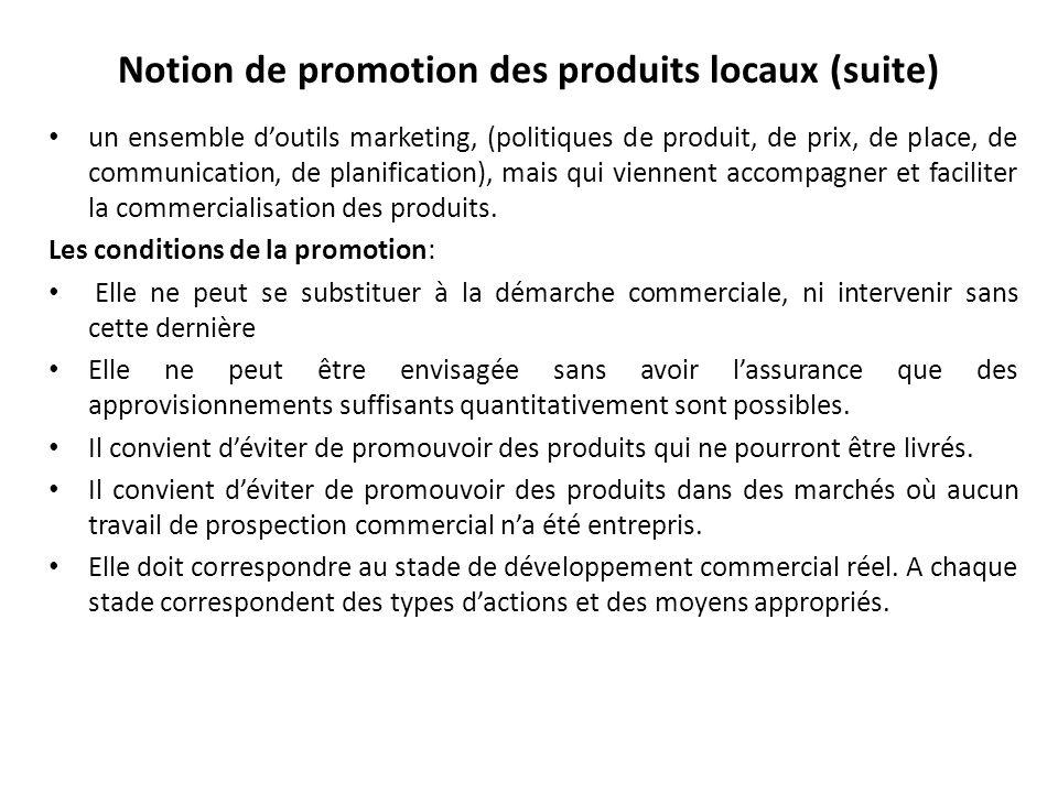 Notion de promotion des produits locaux (suite)