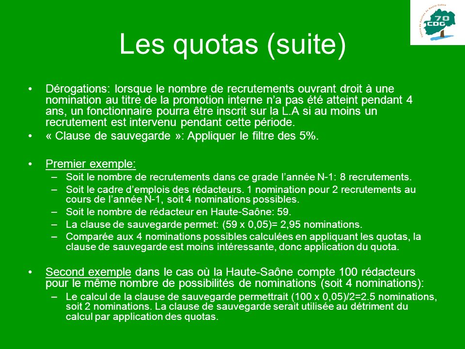 Les quotas (suite)