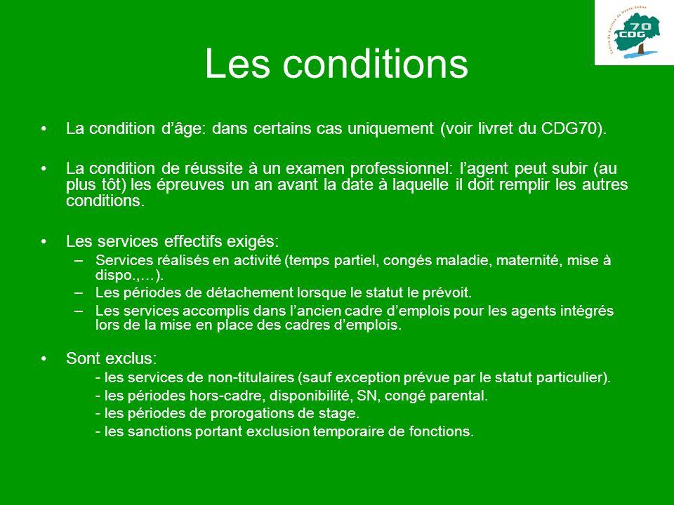 Les conditions La condition d'âge: dans certains cas uniquement (voir livret du CDG70).