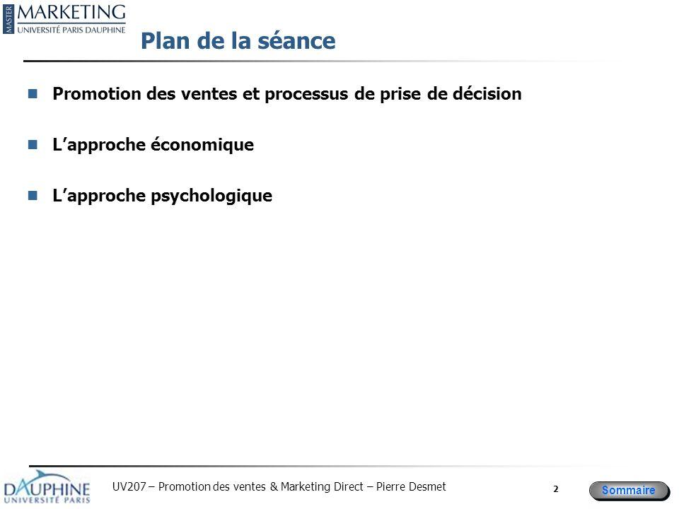 Plan de la séancePromotion des ventes et processus de prise de décision.