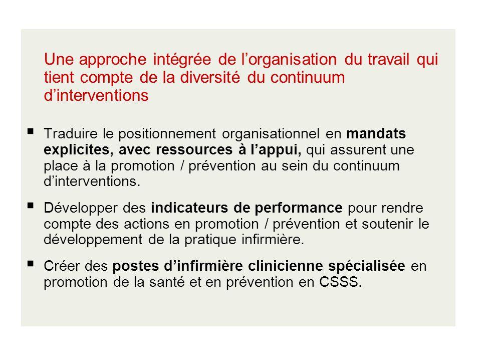 Une approche intégrée de l'organisation du travail qui tient compte de la diversité du continuum d'interventions