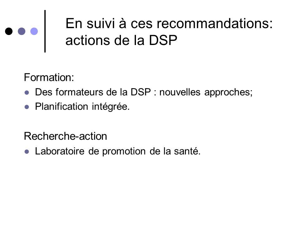 En suivi à ces recommandations: actions de la DSP