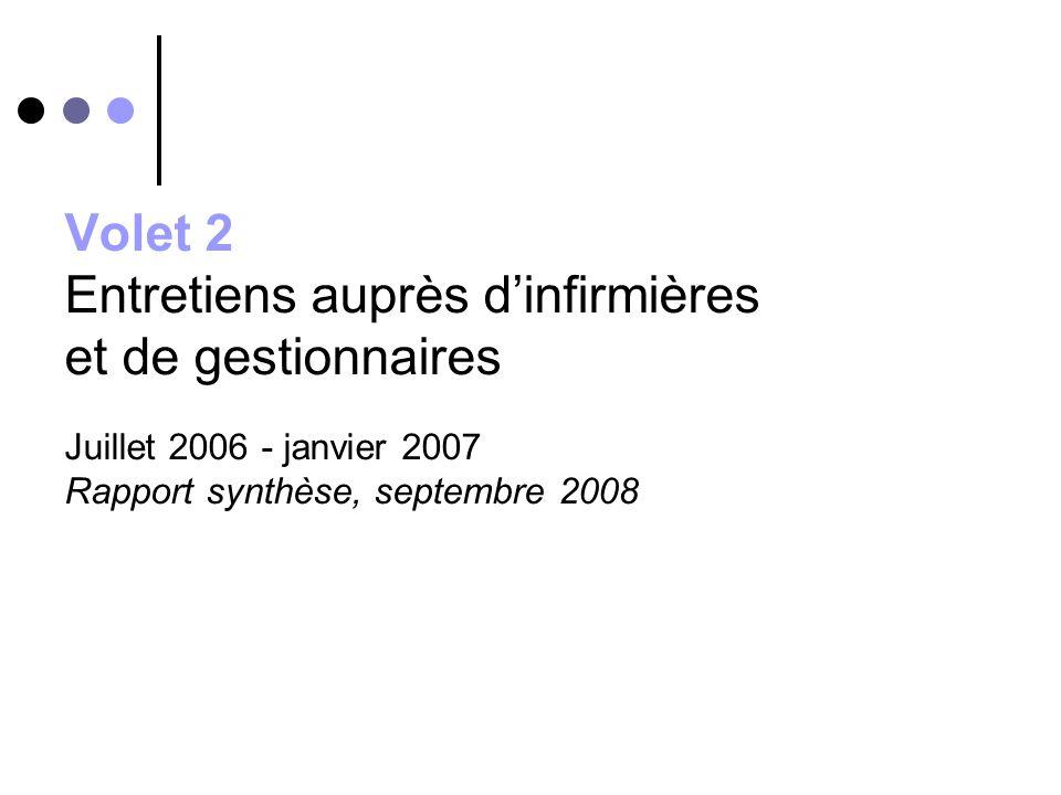 Volet 2 Entretiens auprès d'infirmières et de gestionnaires Juillet 2006 - janvier 2007 Rapport synthèse, septembre 2008
