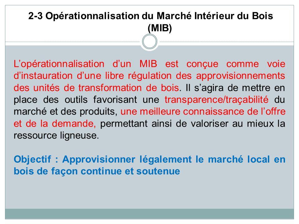 2-3 Opérationnalisation du Marché Intérieur du Bois (MIB)