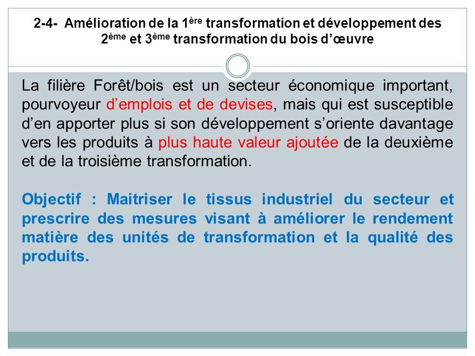 2-4- Amélioration de la 1ère transformation et développement des 2ème et 3ème transformation du bois d'œuvre