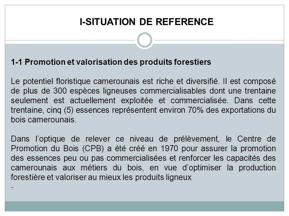 I-SITUATION DE REFERENCE