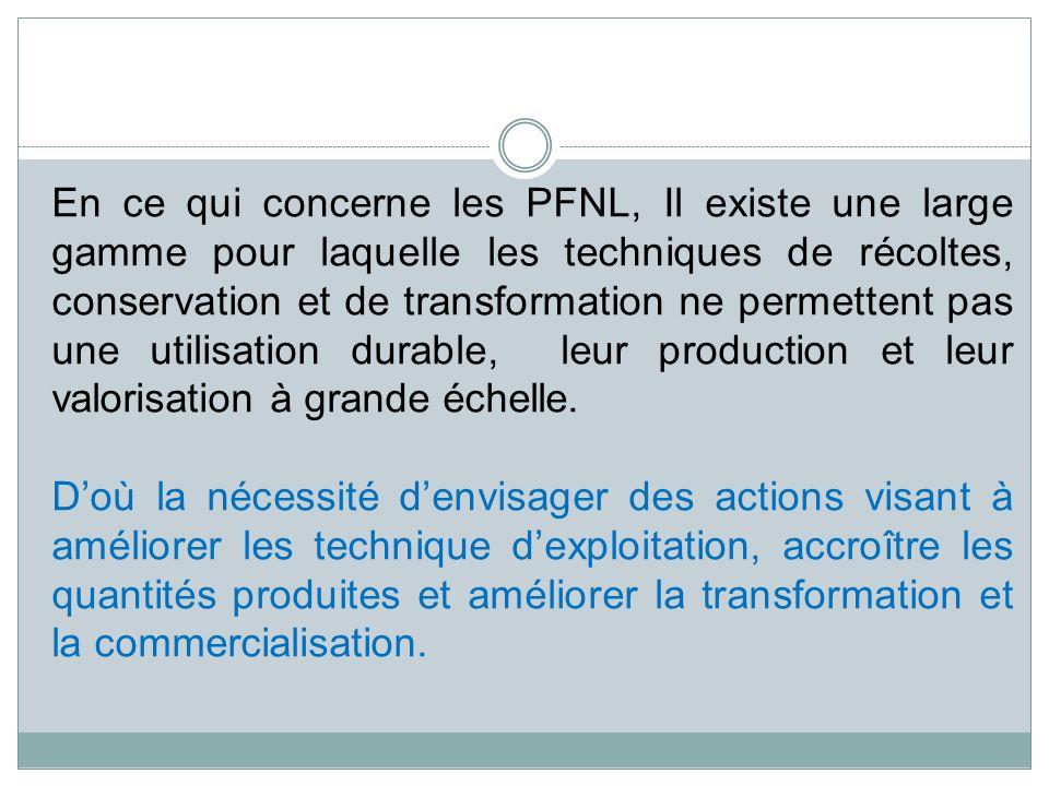 En ce qui concerne les PFNL, Il existe une large gamme pour laquelle les techniques de récoltes, conservation et de transformation ne permettent pas une utilisation durable, leur production et leur valorisation à grande échelle.