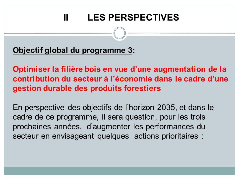 II LES PERSPECTIVES Objectif global du programme 3: