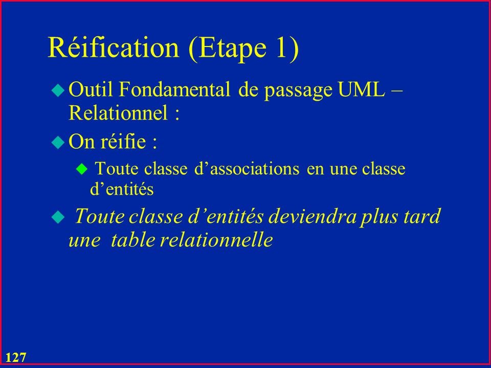 Réification (Etape 1) Outil Fondamental de passage UML – Relationnel :