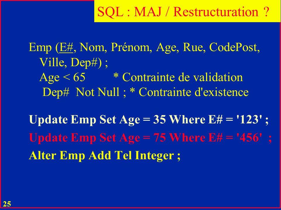 SQL : MAJ / Restructuration