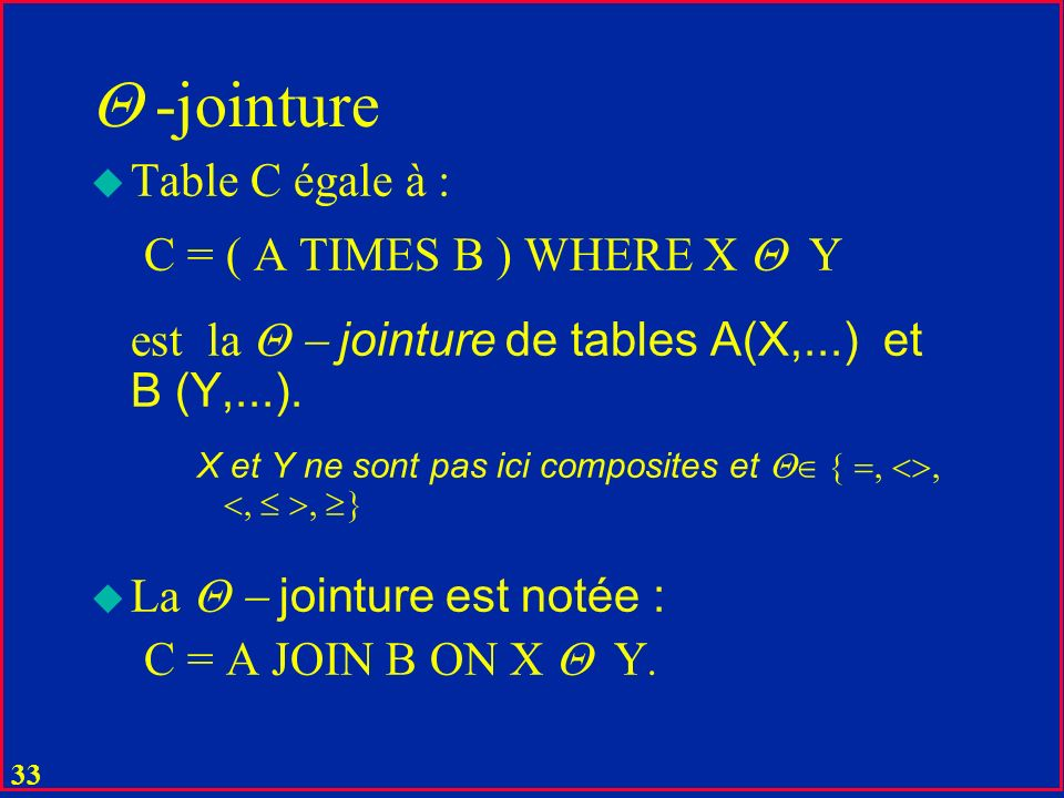 -jointure Table C égale à : C = ( A TIMES B ) WHERE X Y