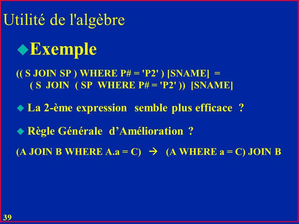 Exemple Utilité de l algèbre