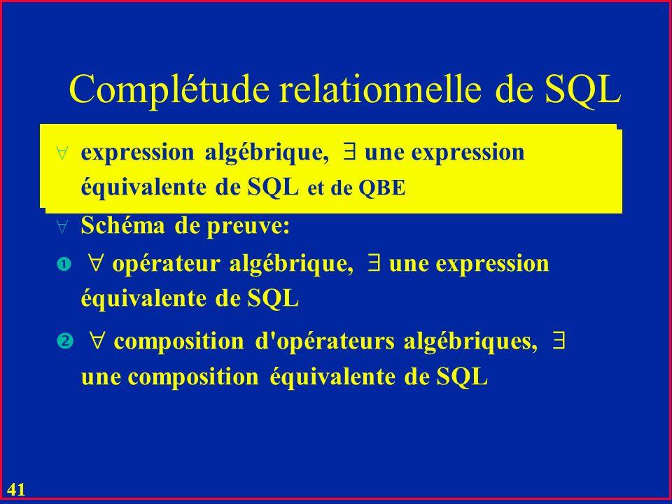 Complétude relationnelle de SQL