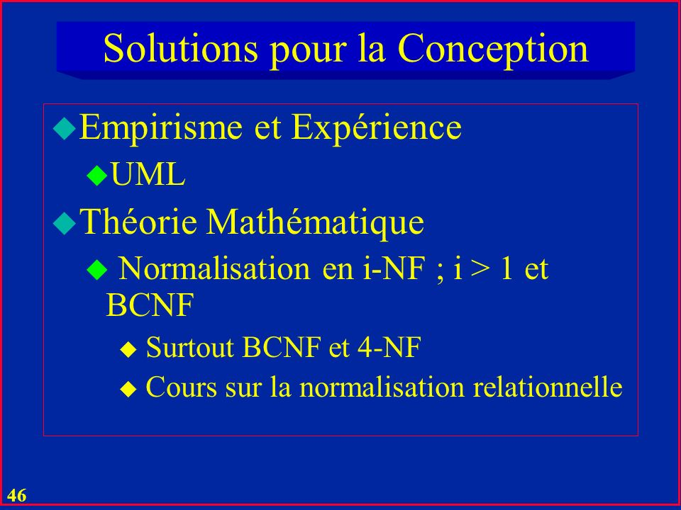Solutions pour la Conception