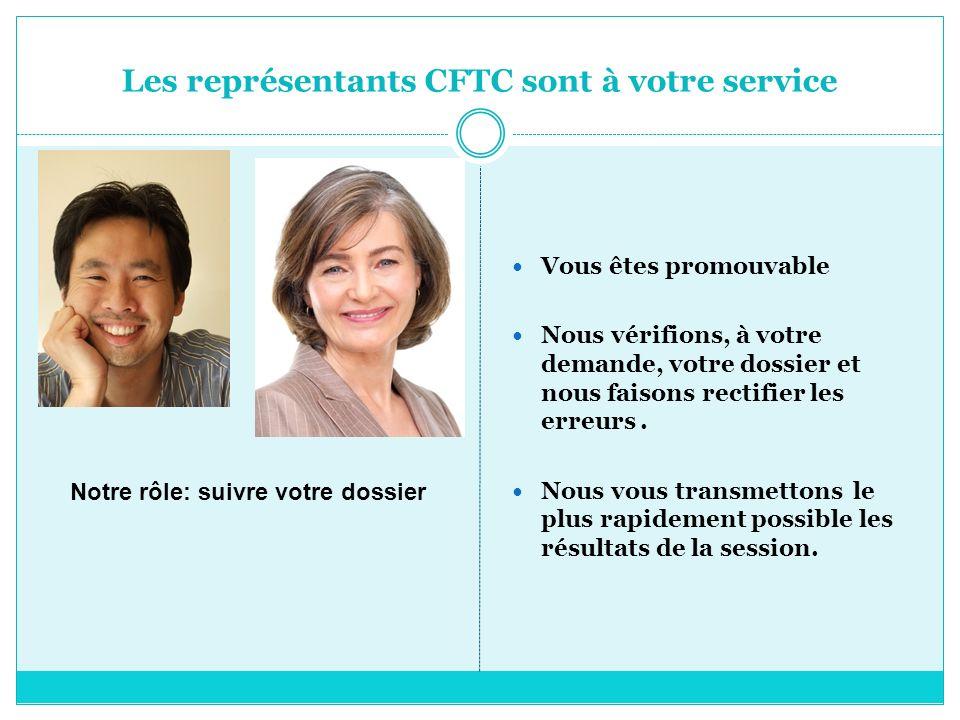 Les représentants CFTC sont à votre service