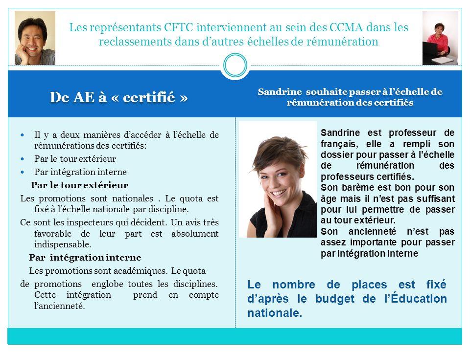 Sandrine souhaite passer à l'échelle de rémunération des certifiés
