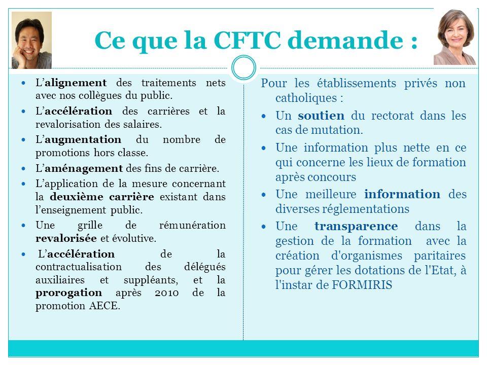 Ce que la CFTC demande : L'alignement des traitements nets avec nos collègues du public.