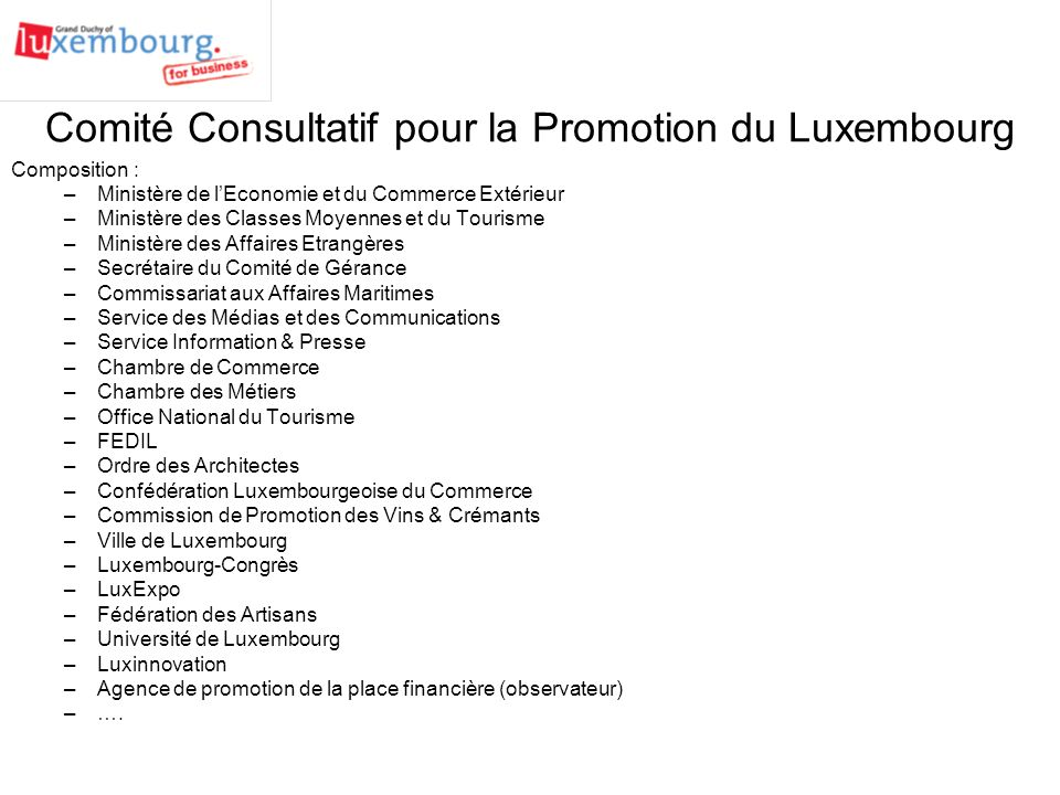 Agence de promotion du grand duch de luxembourg g i e - Office national de publication et de communication ...