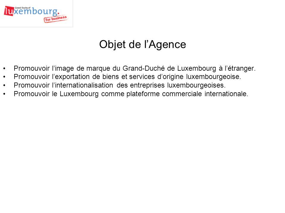 Objet de l'Agence Promouvoir l'image de marque du Grand-Duché de Luxembourg à l'étranger.