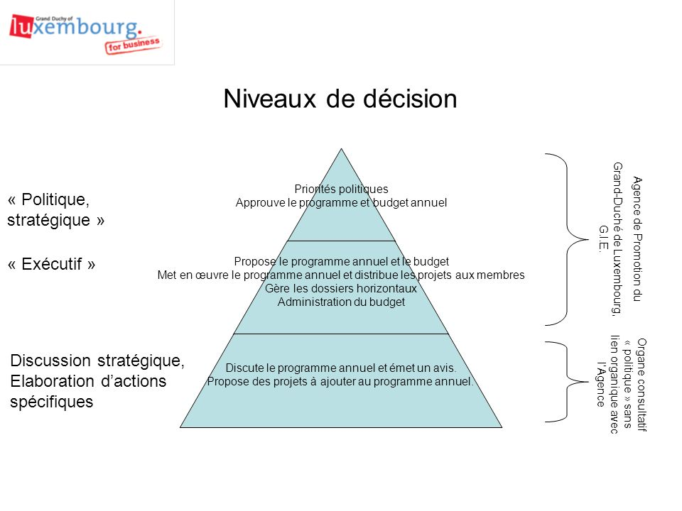 Niveaux de décision « Politique, stratégique » « Exécutif »