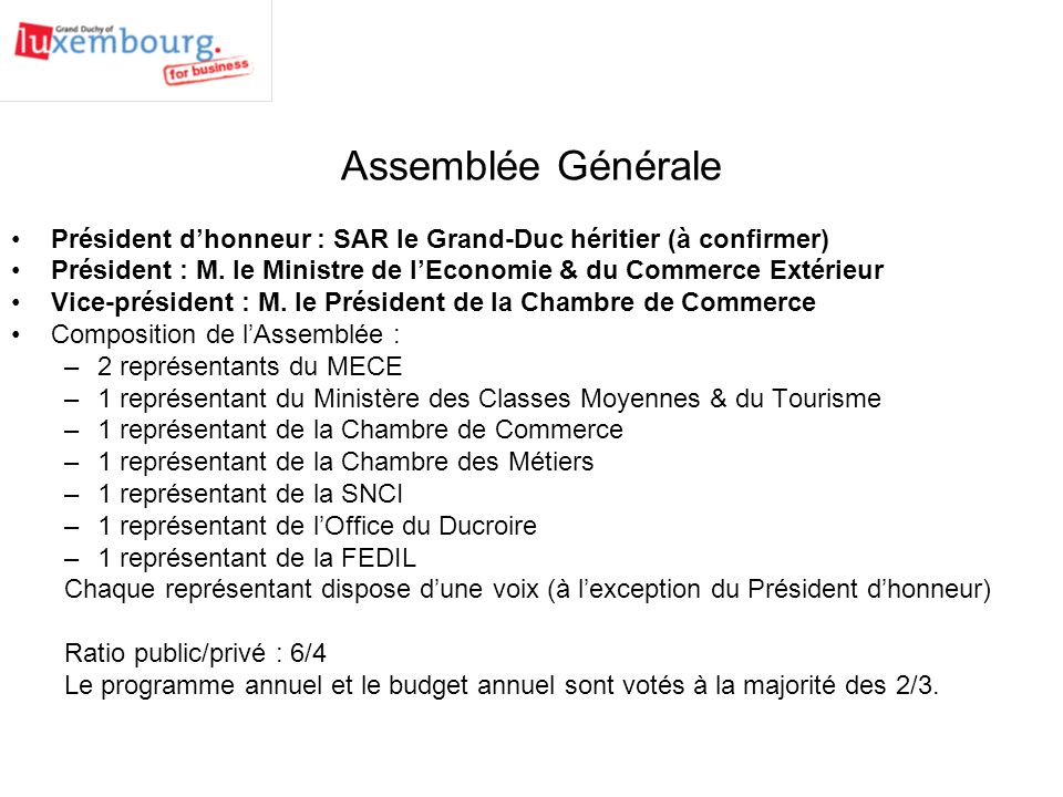 Agence de promotion du grand duch de luxembourg g i e for Ministere du commerce exterieur