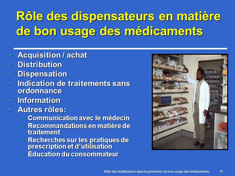 Rôle des dispensateurs en matière de bon usage des médicaments