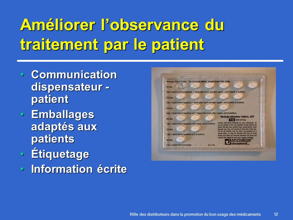 Améliorer l'observance du traitement par le patient