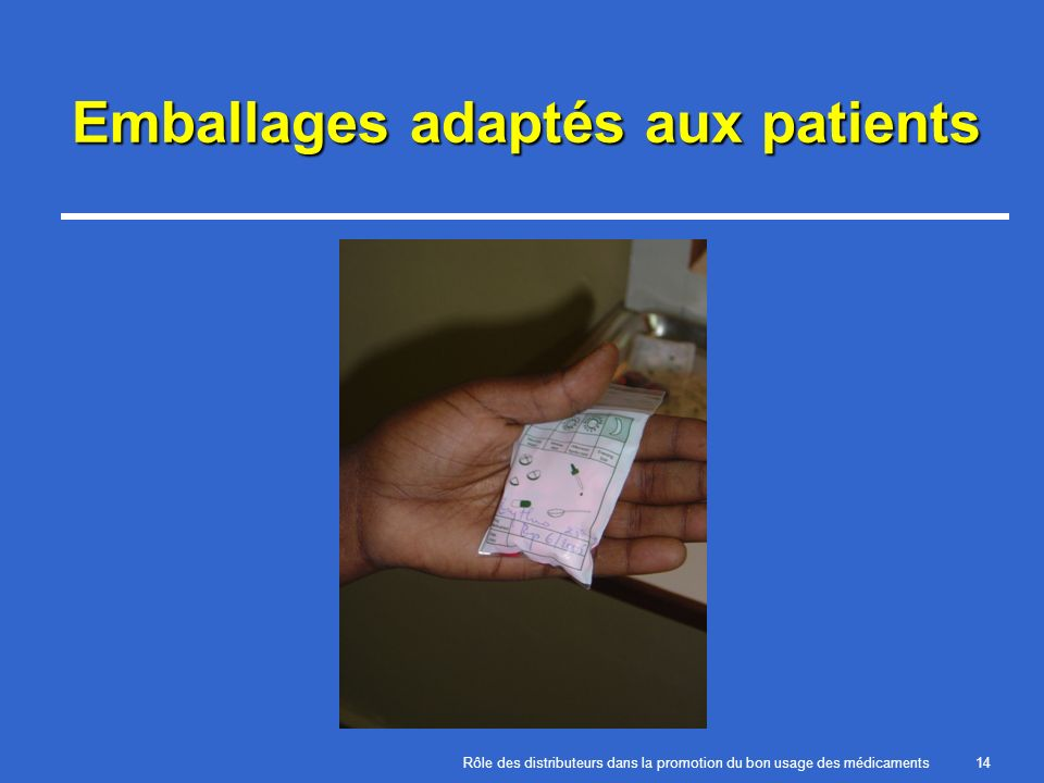 Emballages adaptés aux patients