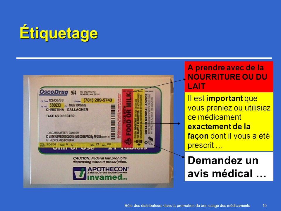 Étiquetage Demandez un avis médical … A prendre avec de la