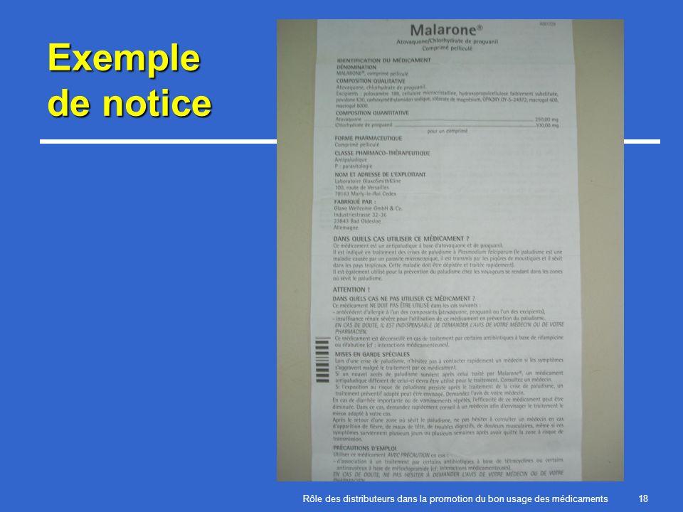 Exemple de notice Rôle des distributeurs dans la promotion du bon usage des médicaments
