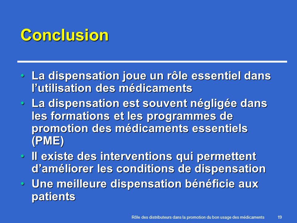 Conclusion La dispensation joue un rôle essentiel dans l'utilisation des médicaments.