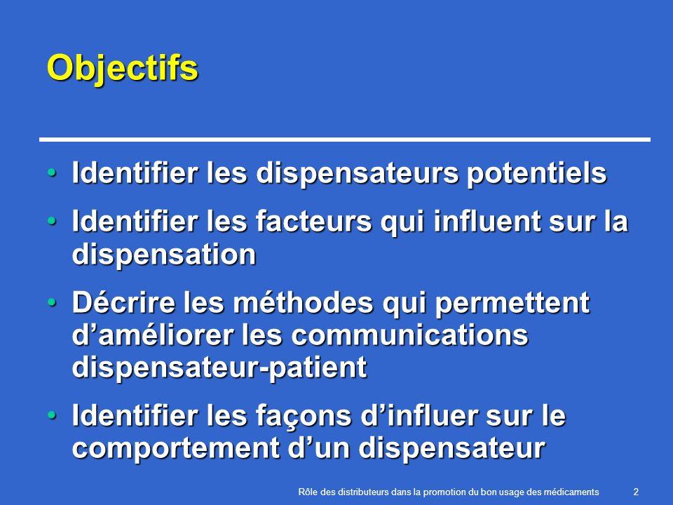 Objectifs Identifier les dispensateurs potentiels
