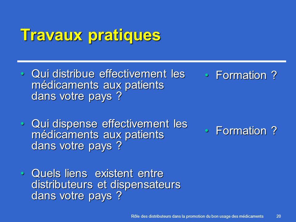 Travaux pratiques Qui distribue effectivement les médicaments aux patients dans votre pays