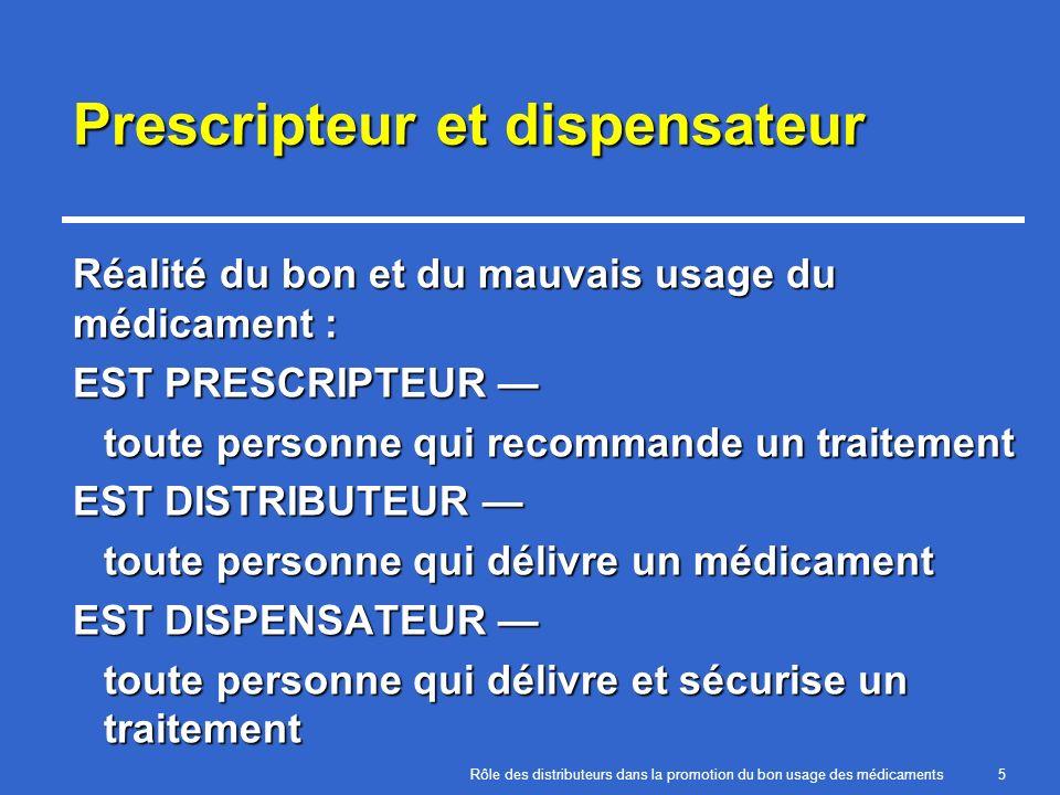 Prescripteur et dispensateur