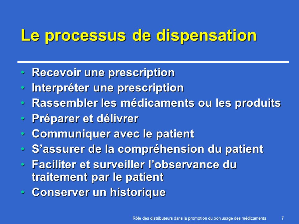 Le processus de dispensation