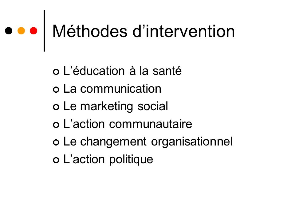 Méthodes d'intervention