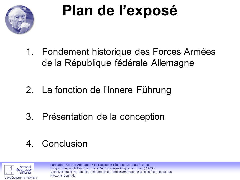 Plan de l'exposé Fondement historique des Forces Armées de la République fédérale Allemagne. La fonction de l'Innere Führung.