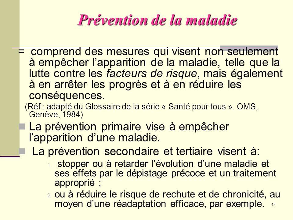 Prévention de la maladie