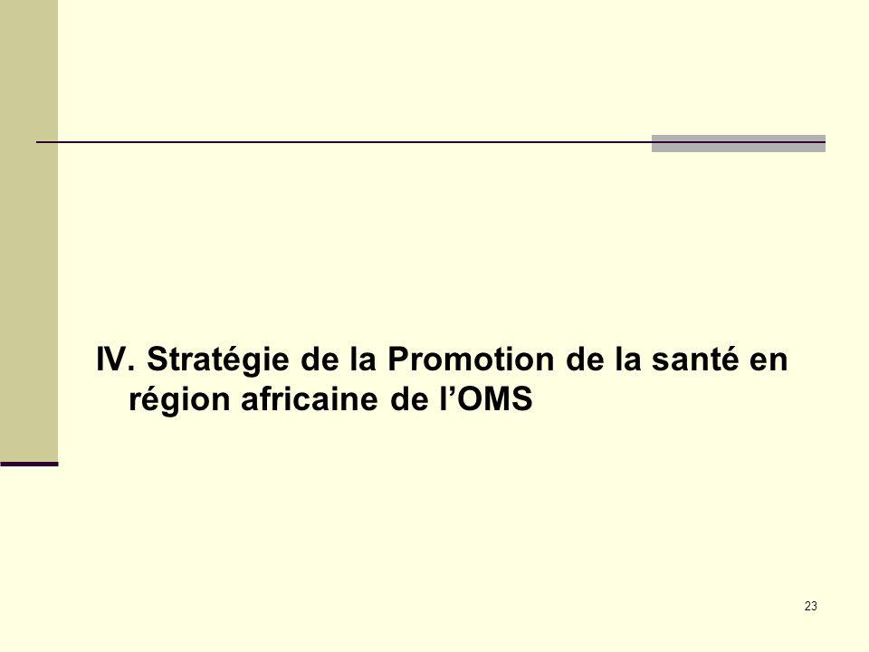 IV. Stratégie de la Promotion de la santé en région africaine de l'OMS