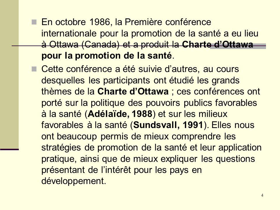 En octobre 1986, la Première conférence internationale pour la promotion de la santé a eu lieu à Ottawa (Canada) et a produit la Charte d'Ottawa pour la promotion de la santé.
