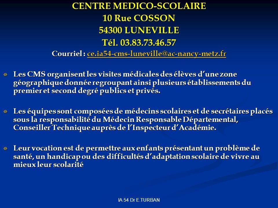 CENTRE MEDICO-SCOLAIRE 10 Rue COSSON 54300 LUNEVILLE