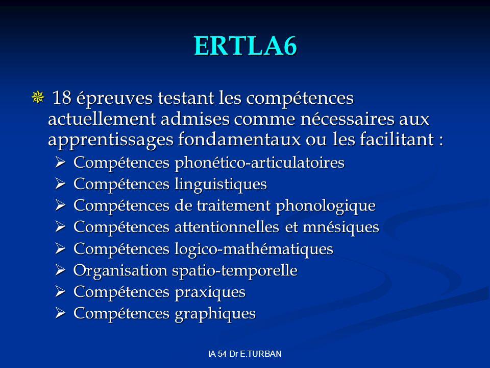 ERTLA6 18 épreuves testant les compétences actuellement admises comme nécessaires aux apprentissages fondamentaux ou les facilitant :