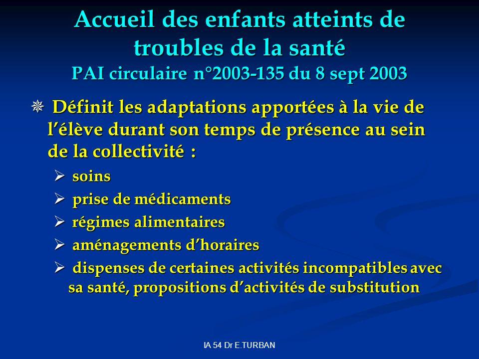 Accueil des enfants atteints de troubles de la santé PAI circulaire n°2003-135 du 8 sept 2003